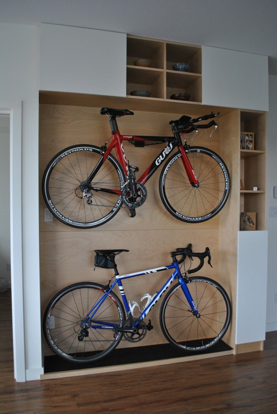 Charming Indoor Bike Storage Ideas Part - 7: Cool Indoor Bike Racks Design As Smart Bike Storage Solutions For Small  Spaces Ideas. Excellent Wooden Platform Design For Home Bikes Storage Ideas  Combined ...