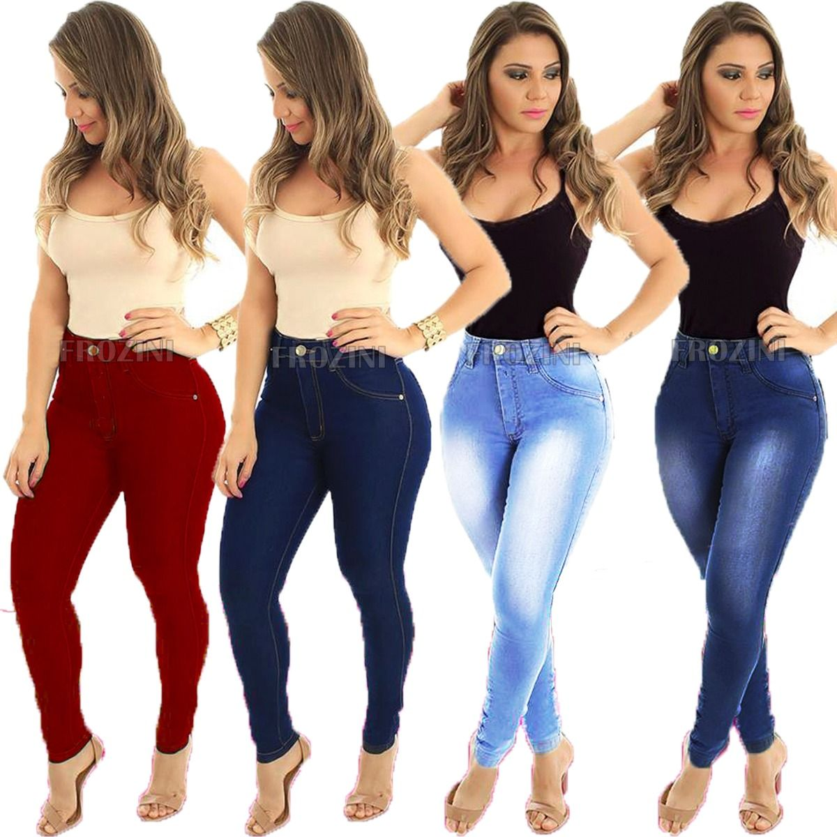 516056091 kit 5 calças jeans feminina cintura alta hot pants atacado
