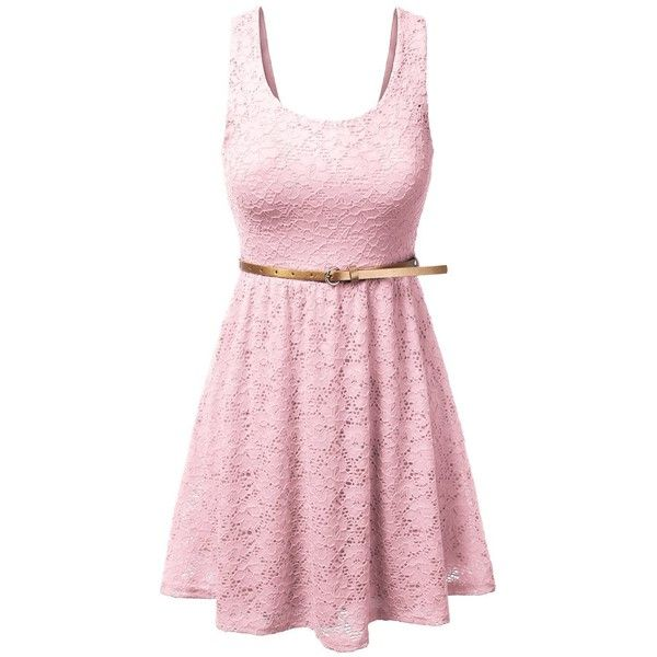 Women's Sleeveless Lace Short Mini Dress with Skinny Belt ($15) ❤ liked on Polyvore featuring dresses, sleeveless dress, sleeveless cocktail dress, short lace skirt, lace mini skirt and short skirts