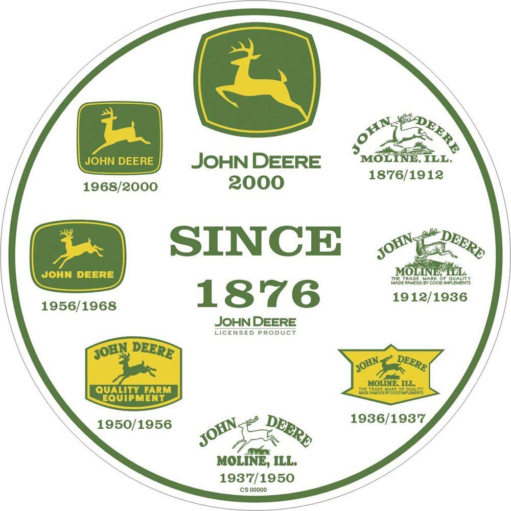 John Deere Round Metal Sign features John Deere