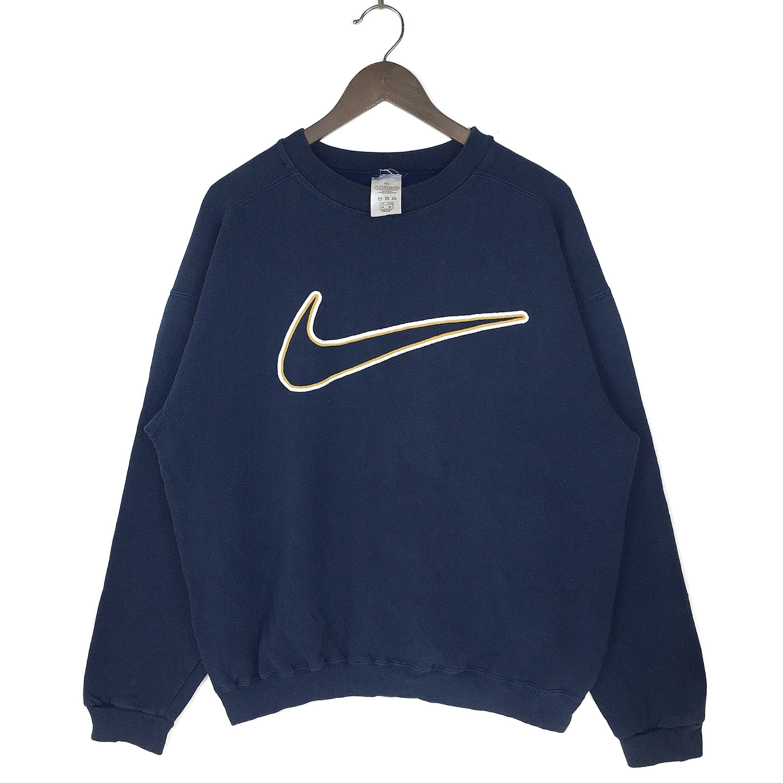 Vintage 90s Nike Swoosh Sweatshirt Embroidered Nike Big Logo Sweatshirt Crewneck Made In Usa Medium Size Vintage Hoodies Vintage Nike Sweatshirt Sweatshirt Outfit [ 3000 x 3000 Pixel ]