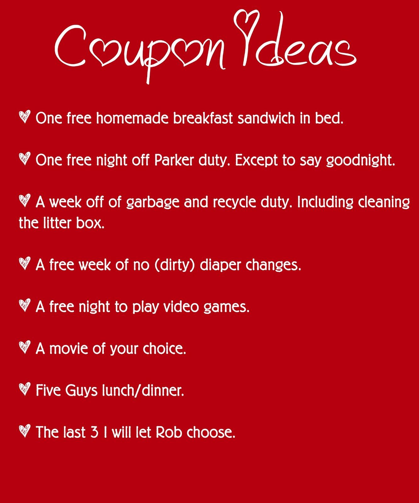 valentines day coupon book idea - Valentines Day Coupon Book