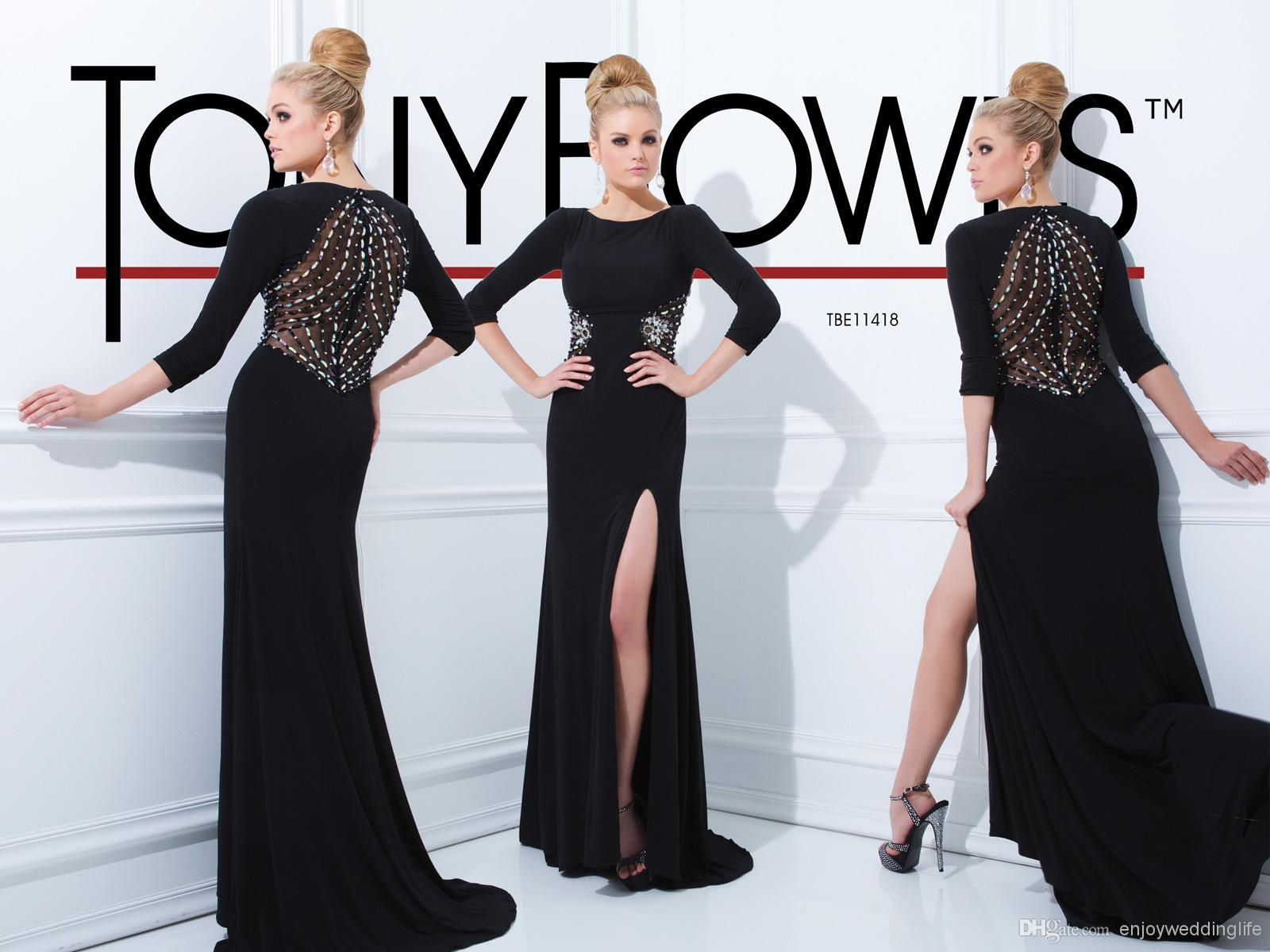 Wholesale evening dresses buy sexy new black long sleeves