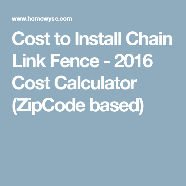 Calculator: Cost to Install Chain Link Fence | Paver patio ...