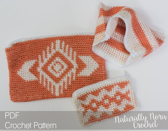 Crochet Pattern: The Piper Pouches 3 Sizes por NaturallyNoraCrochet