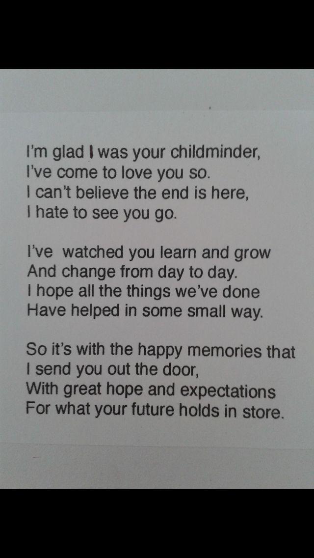Childminder child leaving poem daycare Circle time songs