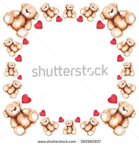 Cartoon lovely Teddy Bear toy Saint Valentine\'s day frame ...