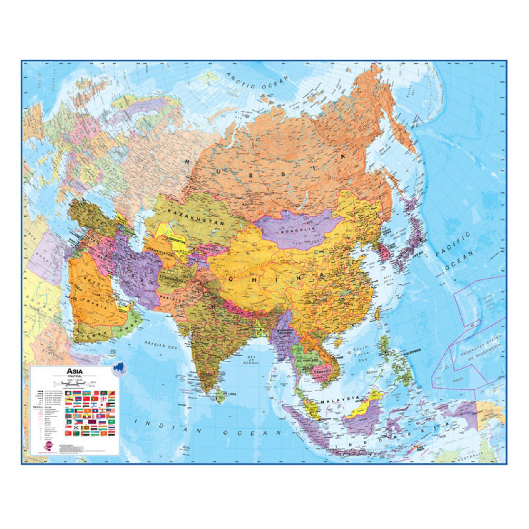 asia 1 11 laminated wall map 47w x 39h in milasia on laminated wall maps id=26025