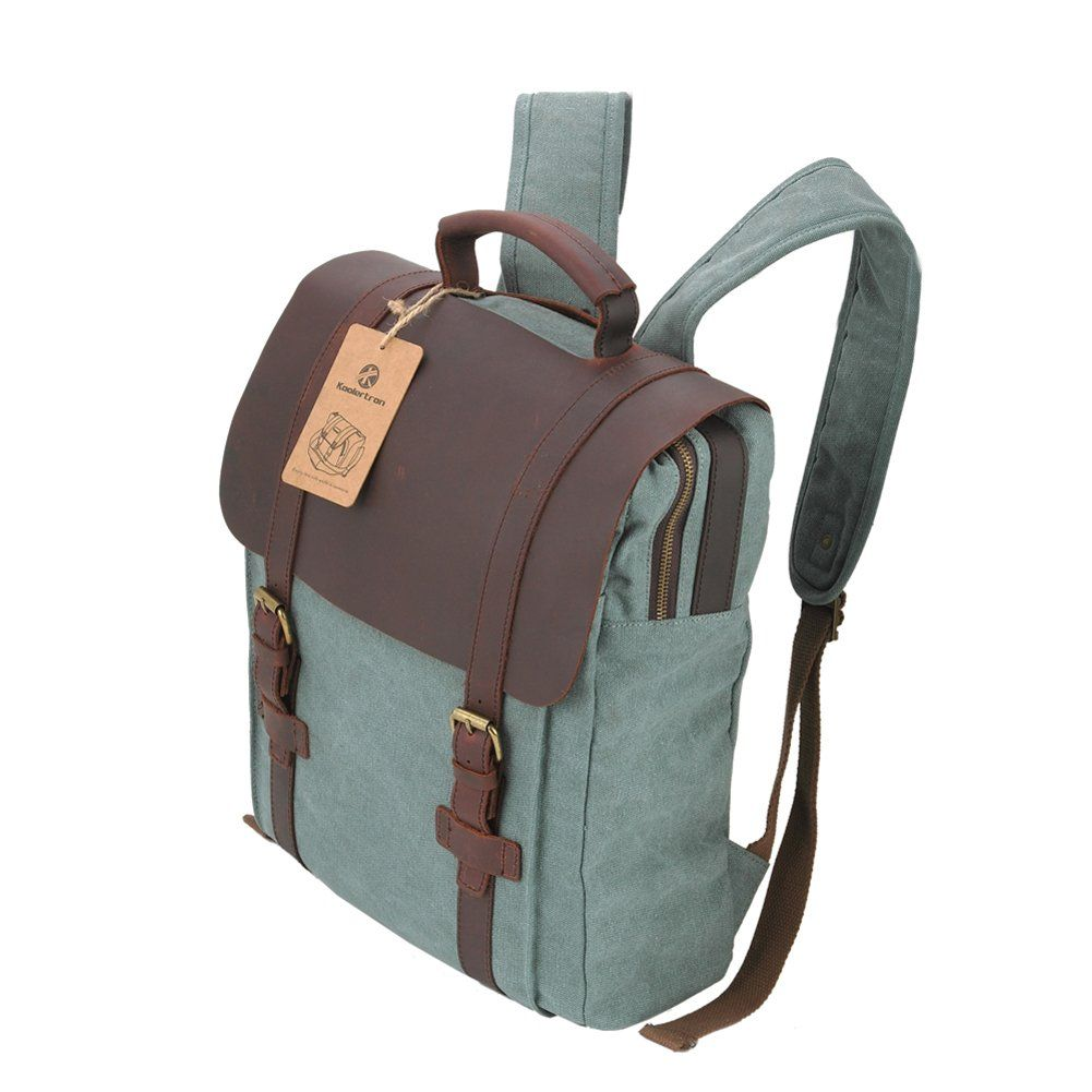 615a4aaf9c2 Koolertron Mochila Retro de Cuero y Lona Bolso de Viaje Bolso de Laptop ( Azul)  Amazon.es  Zapatos y complementos