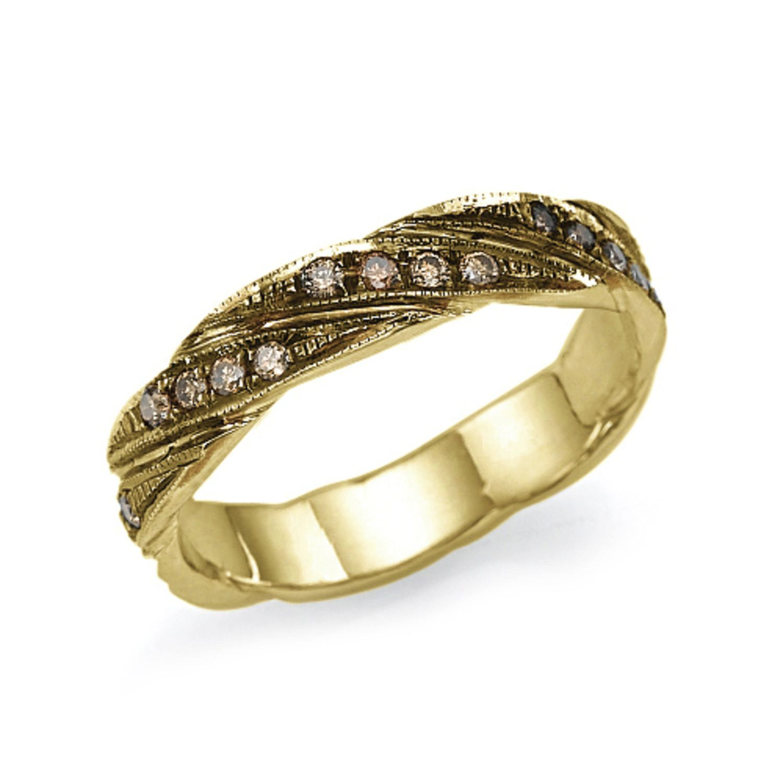 New To Shireeodiz On Etsy Gold Champagne Diamonds Band Ring 14k