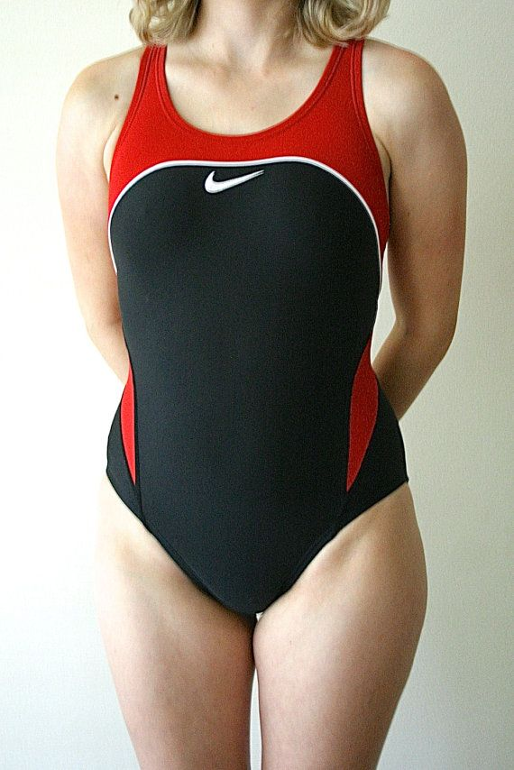 b6963acb30 REDUCED 90s NIKE Swimsuit, Bathing Suit, One Piece, High Cut, High Wasted,  Razor Back, Red, Black, XS Small