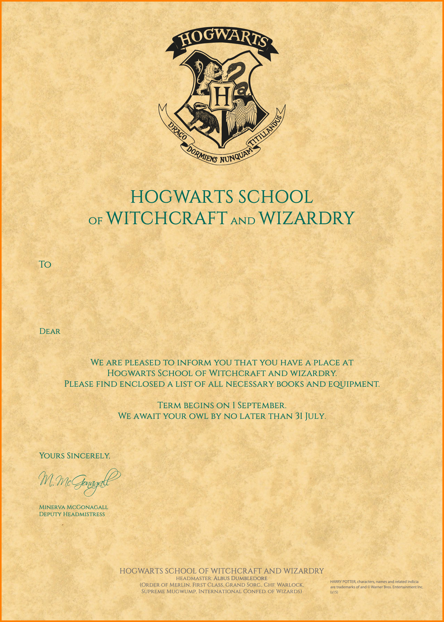 photo relating to Hogwarts Acceptance Letter Envelope Template Printable called 13+ harry potter hogwarts letter estimate templates