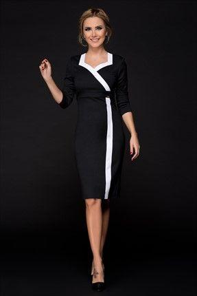 Siyah Beyaz Elbise 15k208 Siyah Beyaz Elbiseler Moda Stilleri Elbise