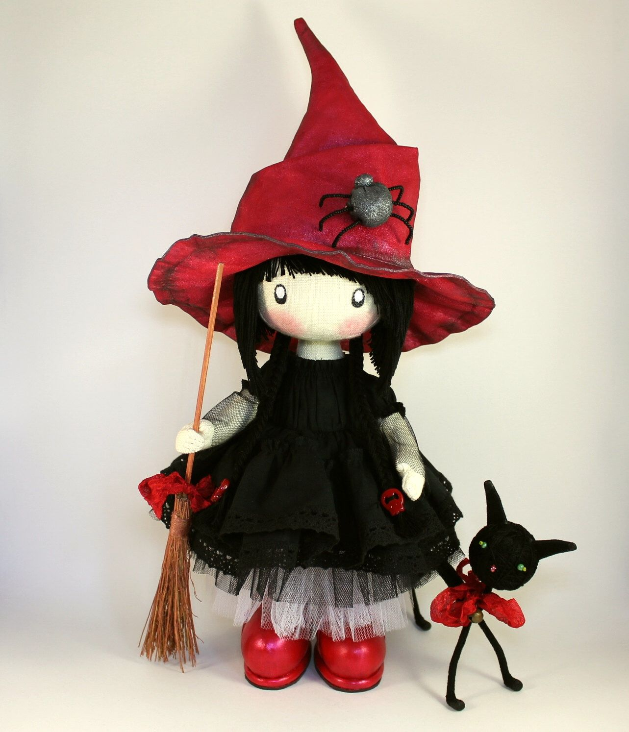 Little witch Kiki made to order black cat halloween doll home ...