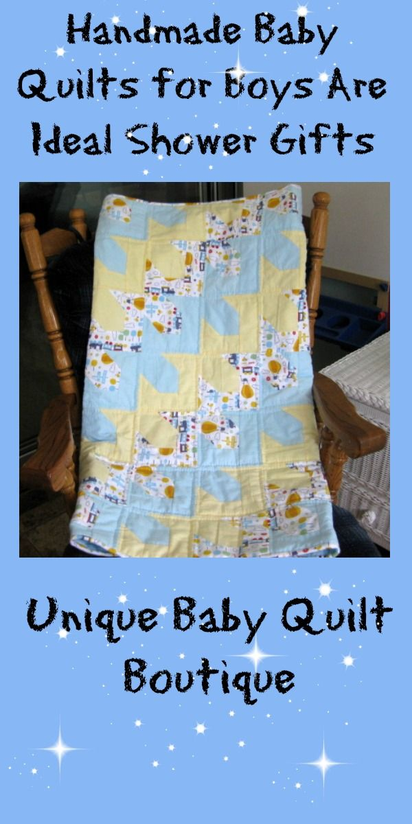 Handmade baby quilts for boys are ideal shower gifts http://shop.uniquebabyquiltboutique.com/