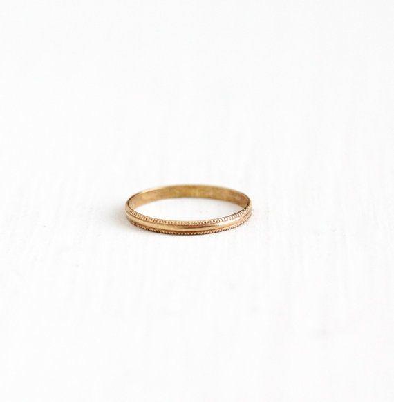 Vintage 10k Rose Gold Baby Ring Band Art Deco 1930s Size 1 3 4