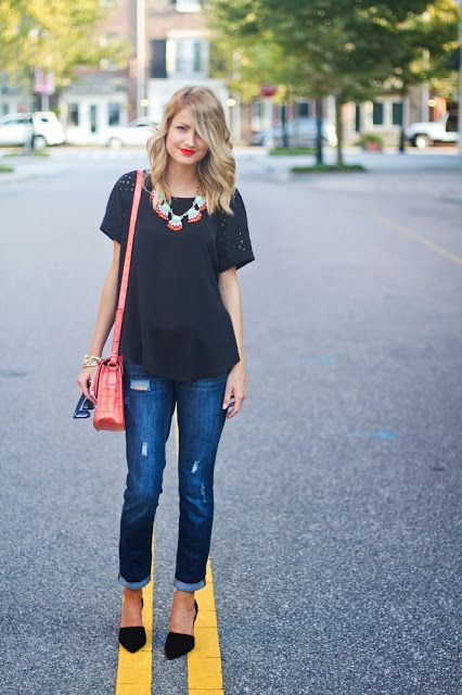 Black T-Shirt With Bright Accessories Outfit Idea | Inspiration ...