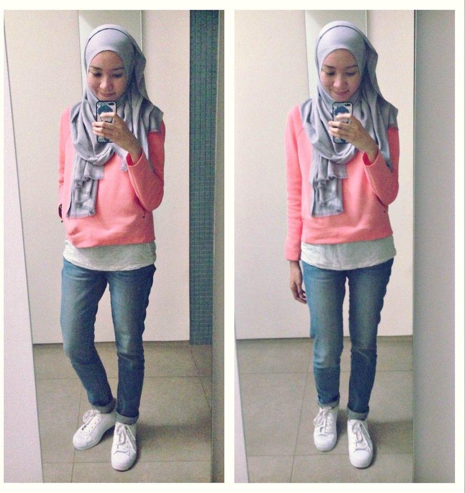 Syaifiena W Uniqlo Sweatshirt Hm Tanktop Jeans Adidas Zaskia Mecca Elena Blouse Navy Sneakers White