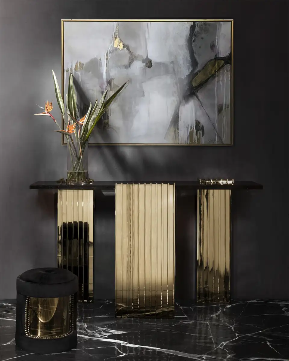 Oldies Console Table With Black Marble Top Luxury Console Lighting Design Interior Modern Console Tables