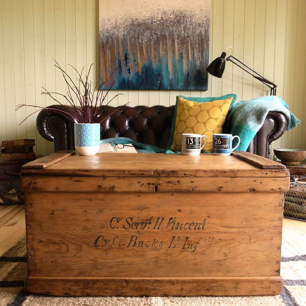 Antique victorian rustic country pine military chest vintage trunk antique victorian rustic country pine military chest vintage trunk coffee table geotapseo Choice Image