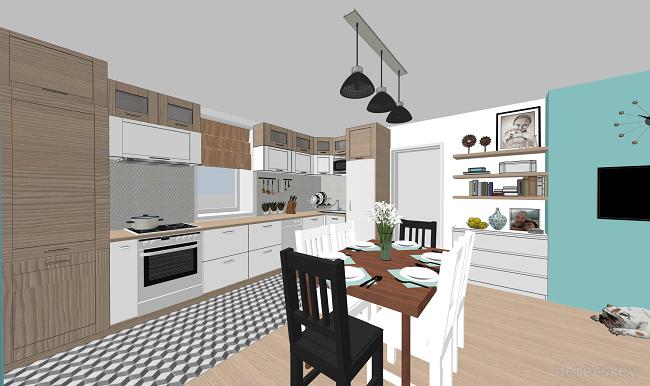 derecskey: Egy fiatalos otthon terve: Nappali-konyha-étkező ...
