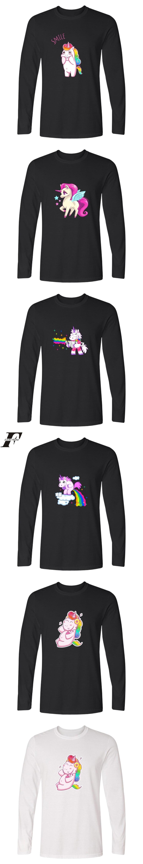 e10bfb97c4b LUCKYFRIDAYF Unicorn Shirt Long Sleeve Funny Design Spring T-shirt  Comfortable Cotton Plus Size T