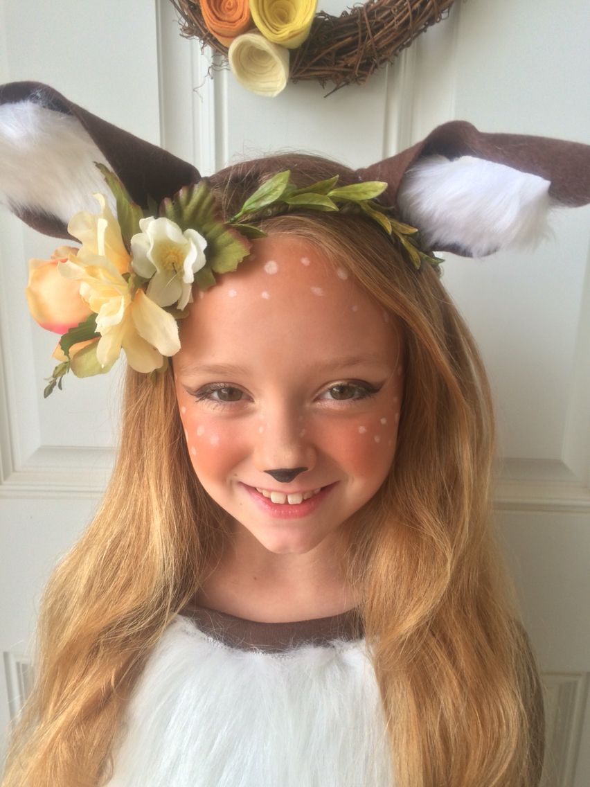 Speckled fawn deer makeup i love how her halloween for How to get makeup out of white shirt