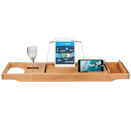 Buy Valdler Home Wooden Bathtub Tray Caddy With Reading Rack And ...