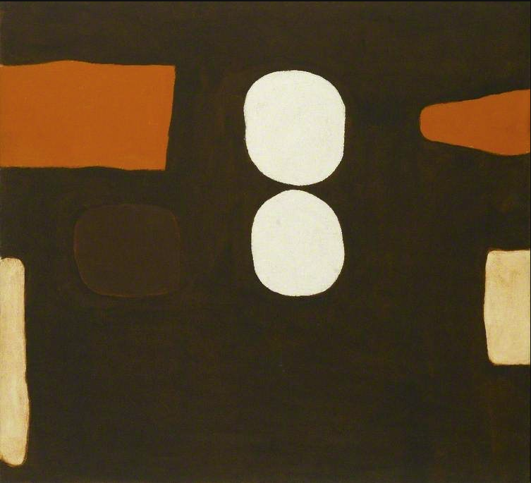 William Scott, Dark Brown, Orange and White, 1963