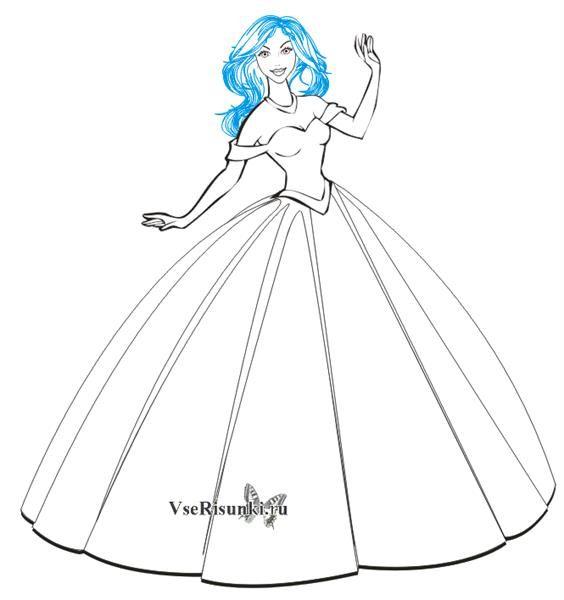 46865bba701 Как нарисовать бальное платье карандашом