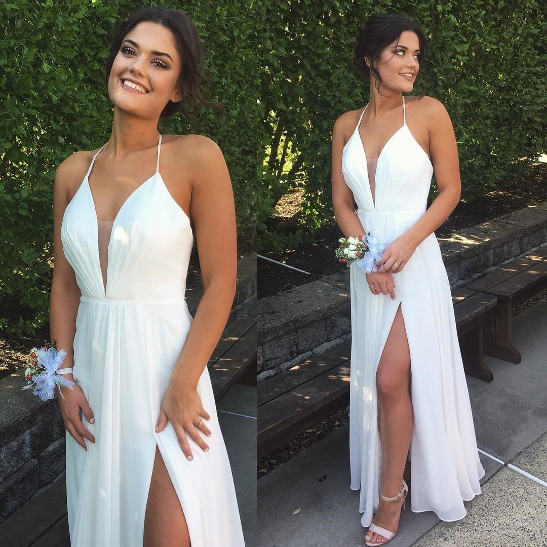 Chic halter prom dresswhite split formal dressvneck backless prom