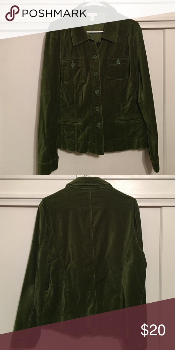 Velvet Jacket by Charter Club This lightly used buttoned moss green velvet jacket is beautiful for the Fall and can be worn with slacks, jeans or khakis. Charter Club Jackets & Coats