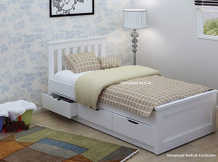 Best Pure White Single Storage Bed Frame With Three Drawers 400 x 300