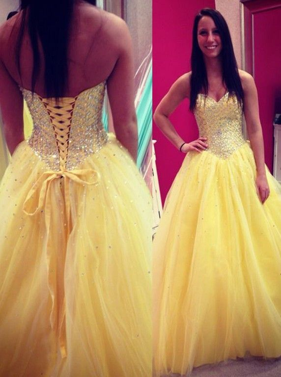 Herrlich Prinzessin Herzform Ausschnitt Bodenlang Gelb Abendkleid ...