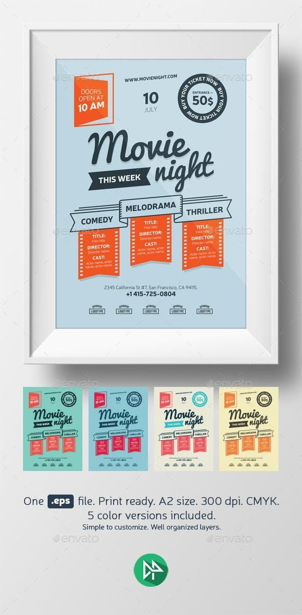 Movie night poster template #DesignCollection #EventFlyer #collections #design #graphic #GraphicDesigner #templates #sets #PrintDesign #flyer #FlyerTemplate #event #Envato #graphicdesign #FlyerTemplates #DesignSets #GraphicResource #PrintTemplates