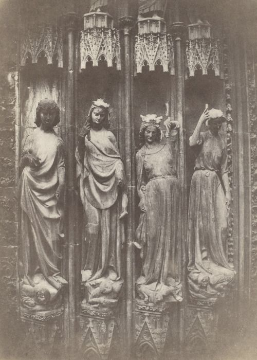 Charles Marville, The Virtues Crushing the Vices, Strasbourg Cathedral, photograph - salted paper print, 1853