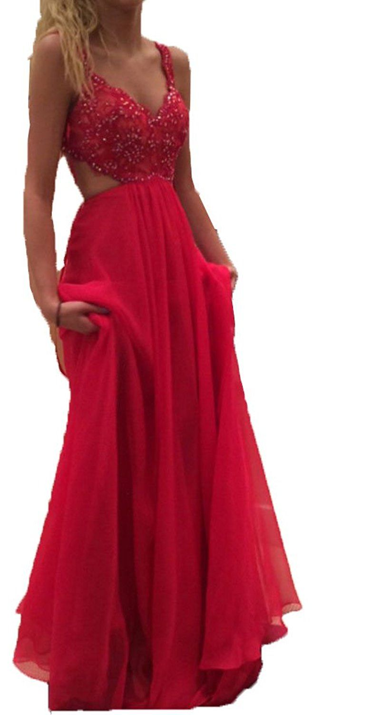 Blevla sexy v neck straps long chiffon prom dresses formal party