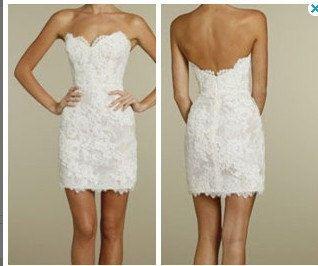 Wedding Dress Short Ivory Lace Reception