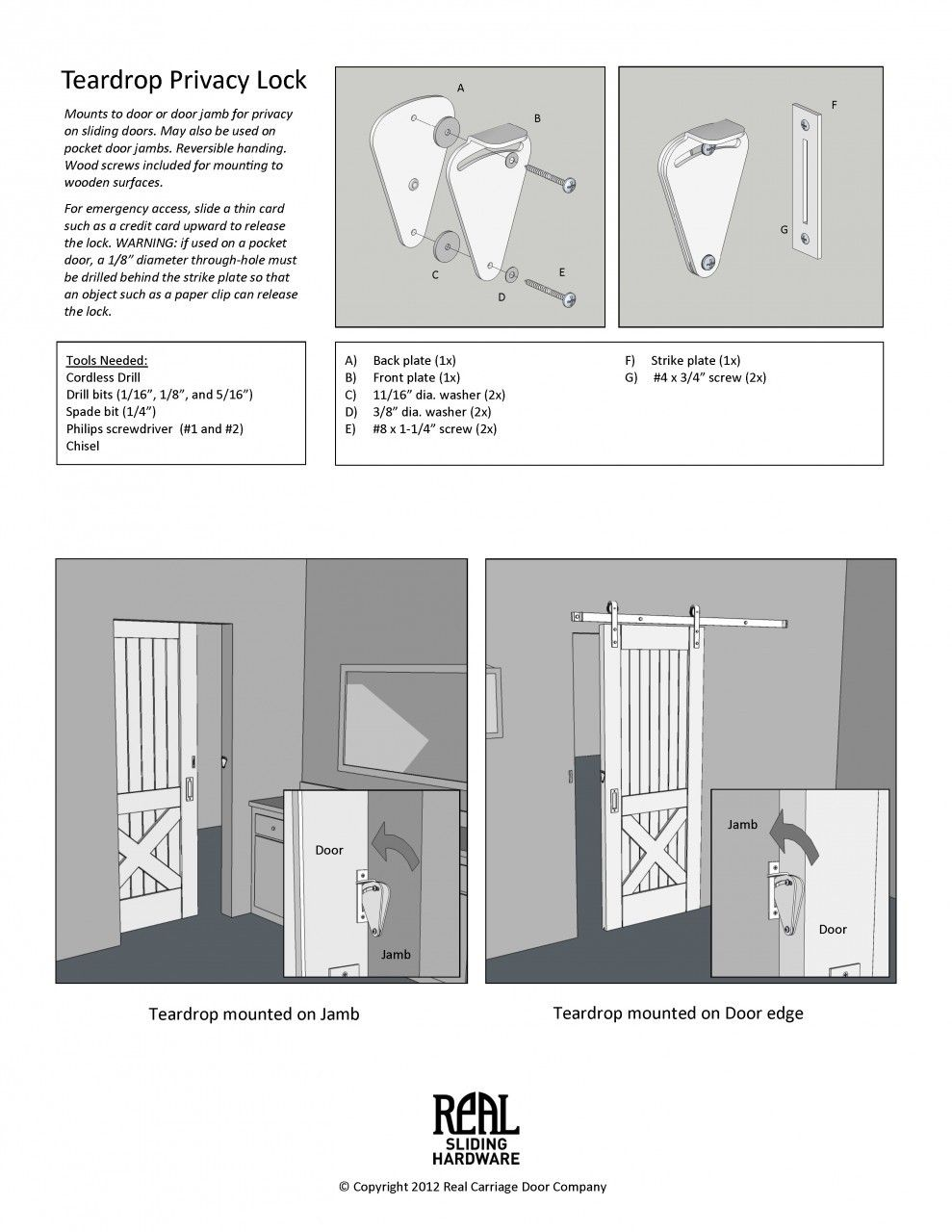 Teardrop privacy lock for sliding doors privacy lock for Barn door bathroom privacy