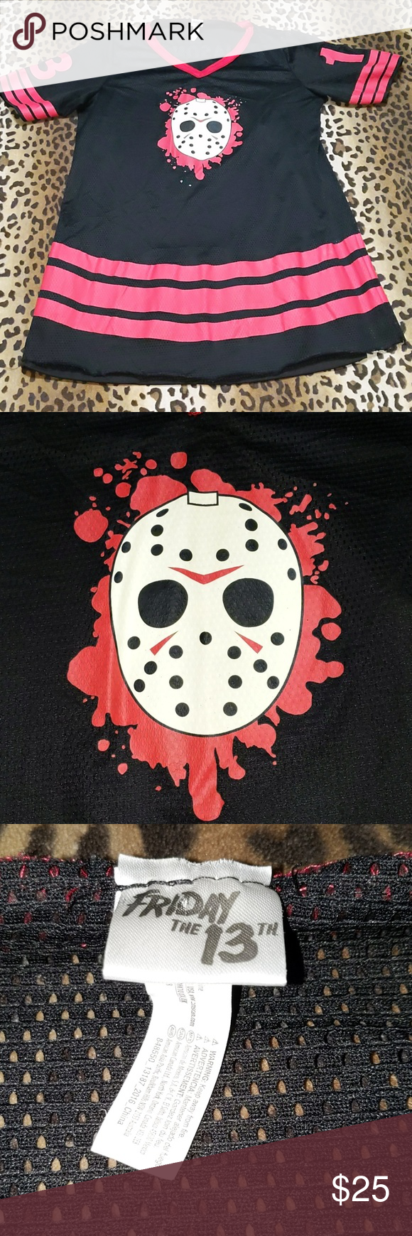 Jason Voorhees jersey dress Jason Voorhees jersey dress.  Women's medium.  Has lining dress connected underneath.  Great condition- open to offers and bundles. Hot Topic Dresses Mini #jasonvoorhees