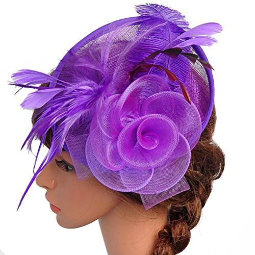 e0e0e432dbb59 Valdler Womens Feather Mesh Net Sinamay Fascinator Hat with Hair ...