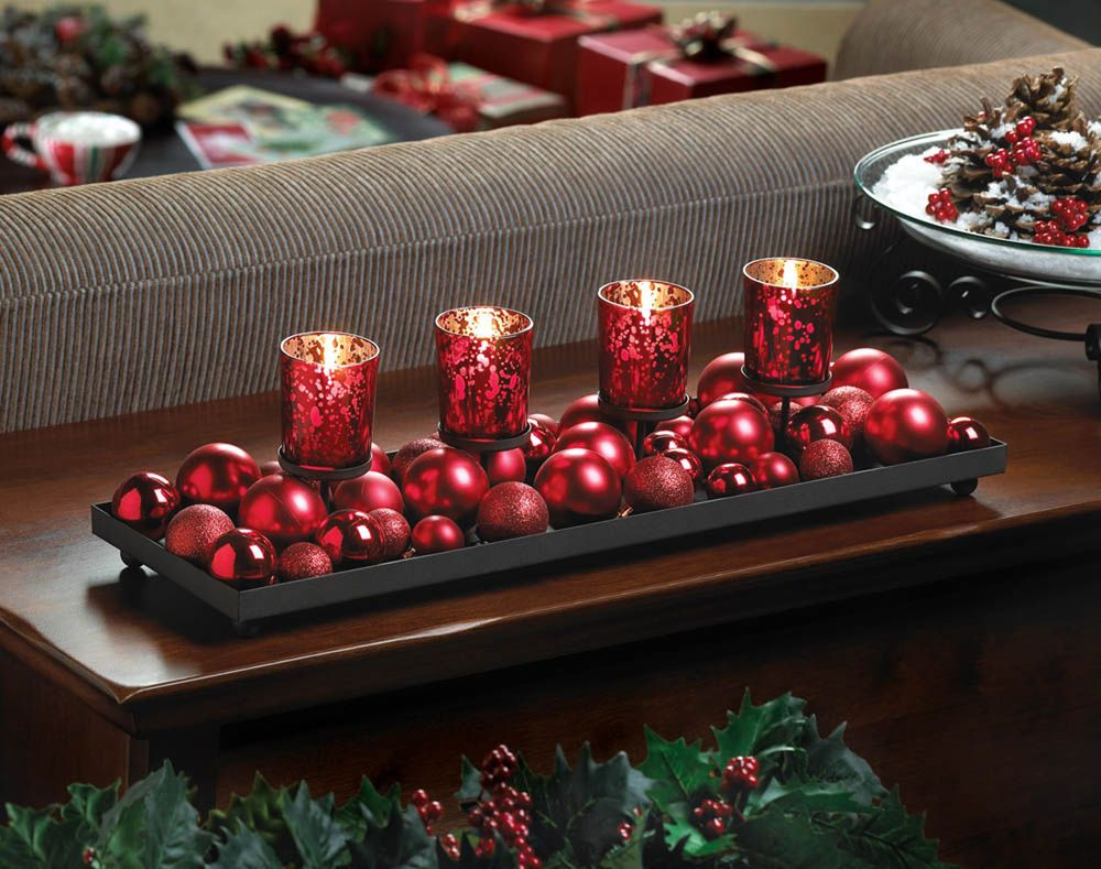 Christmas Table Centerpiece With Red Glass Candle Holders Ornaments Holiday Candle Holders Candle Displays Holiday Decor Christmas