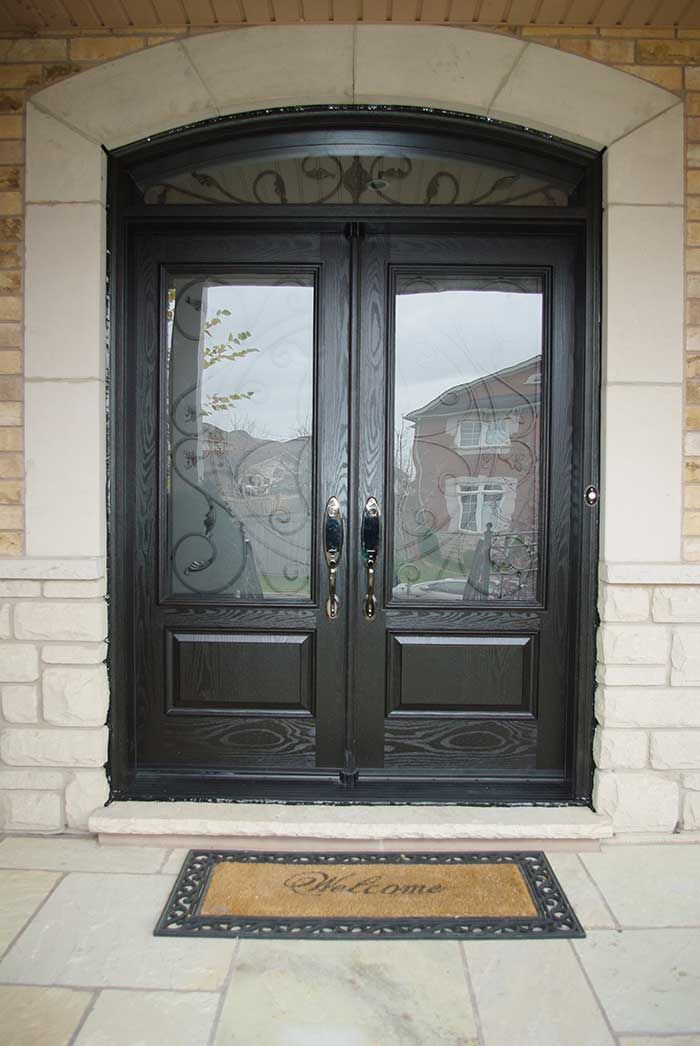 Finding The Perfect Fibergl Front Doors With Gl Surprising Custom Panels Woodgrain Double Iron Art Design