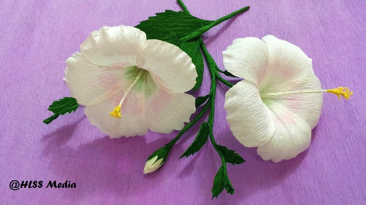 How To Make White Hibiscus Paper Flower Origami Step By Step Diy