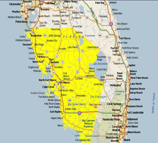 Southwest Florida Map Map Of Southwest Florida Cities |  area is from southwest tip