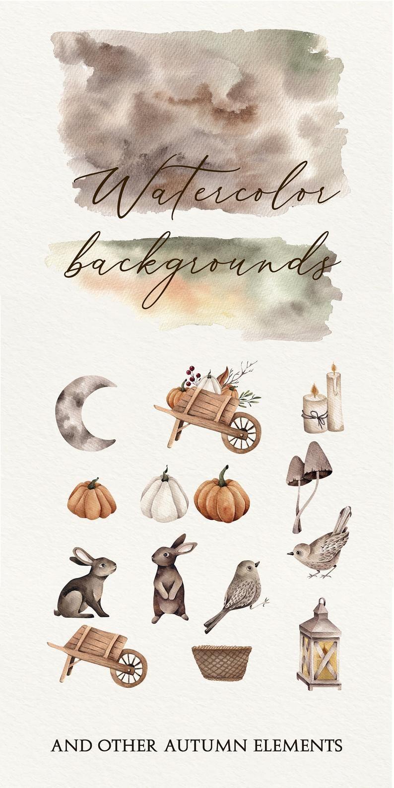 Autumn Watercolor Clipart, Fall Leaves Clipart, Au