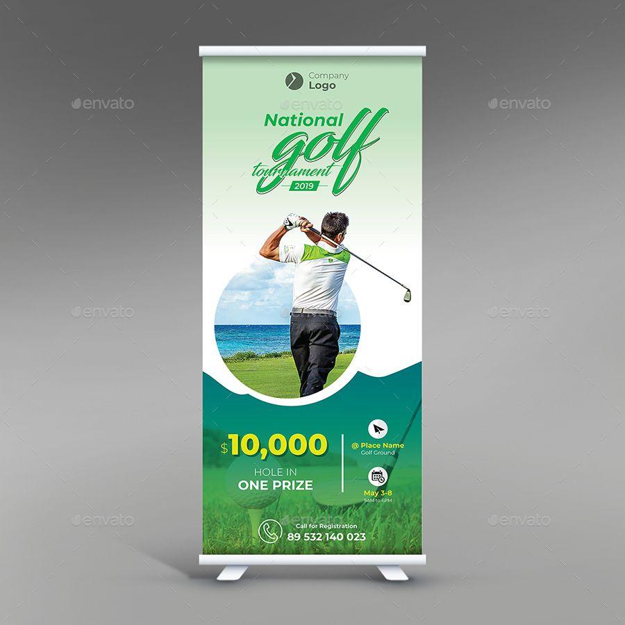 Golf Tournament Roll Up Banner Brochure Design Template Golf Tournament Banner