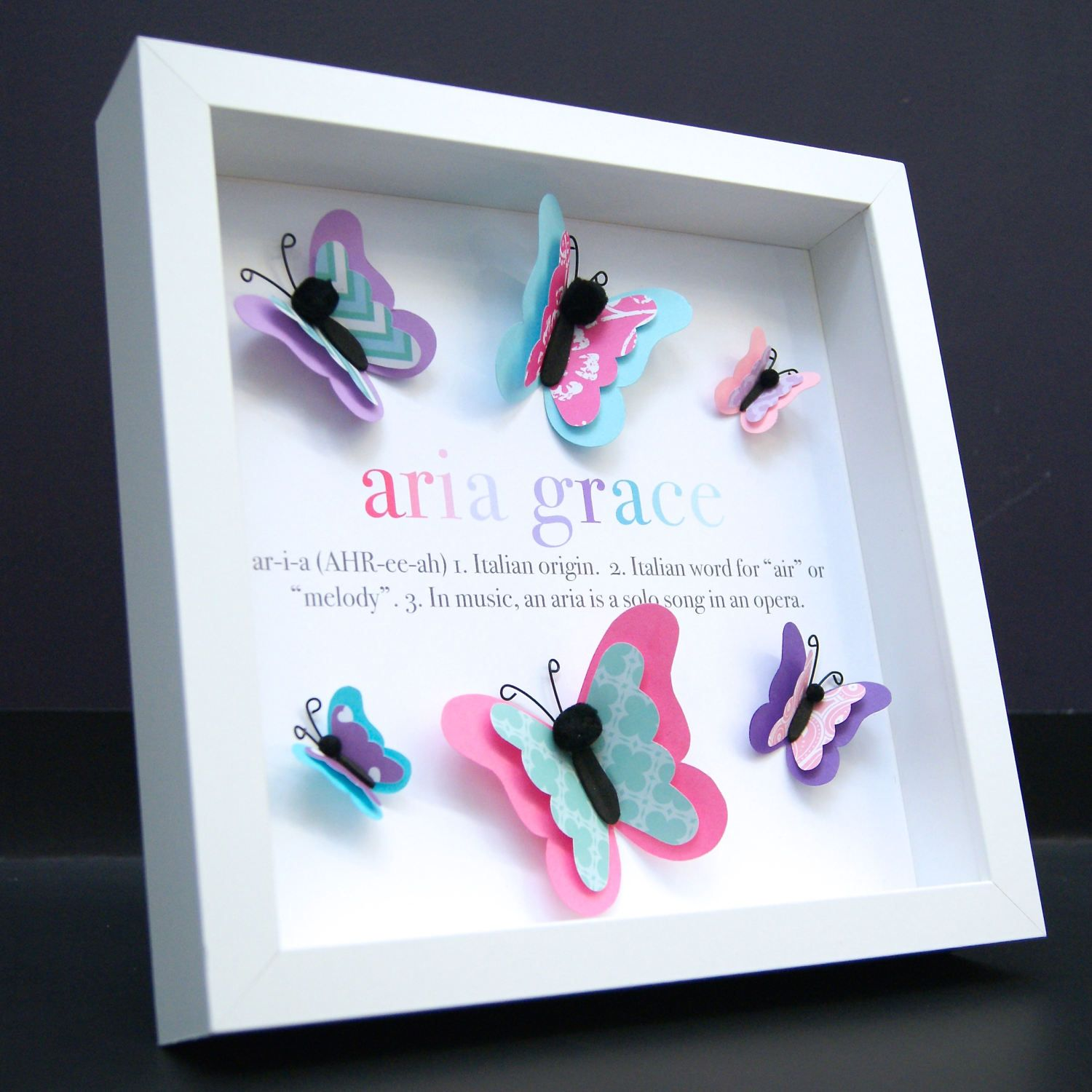 Personalized name origin and meaning 3d paper butterflies shadowbox personalized name origin and meaning 3d paper butterflies shadowbox frame custom art newborn baby girl shower nursery decor wall art gift negle Image collections