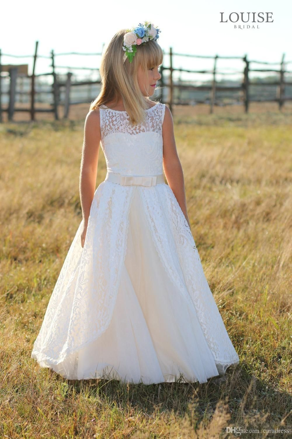 Elegant full lace flower girl dresses junior bridesmaid dresses