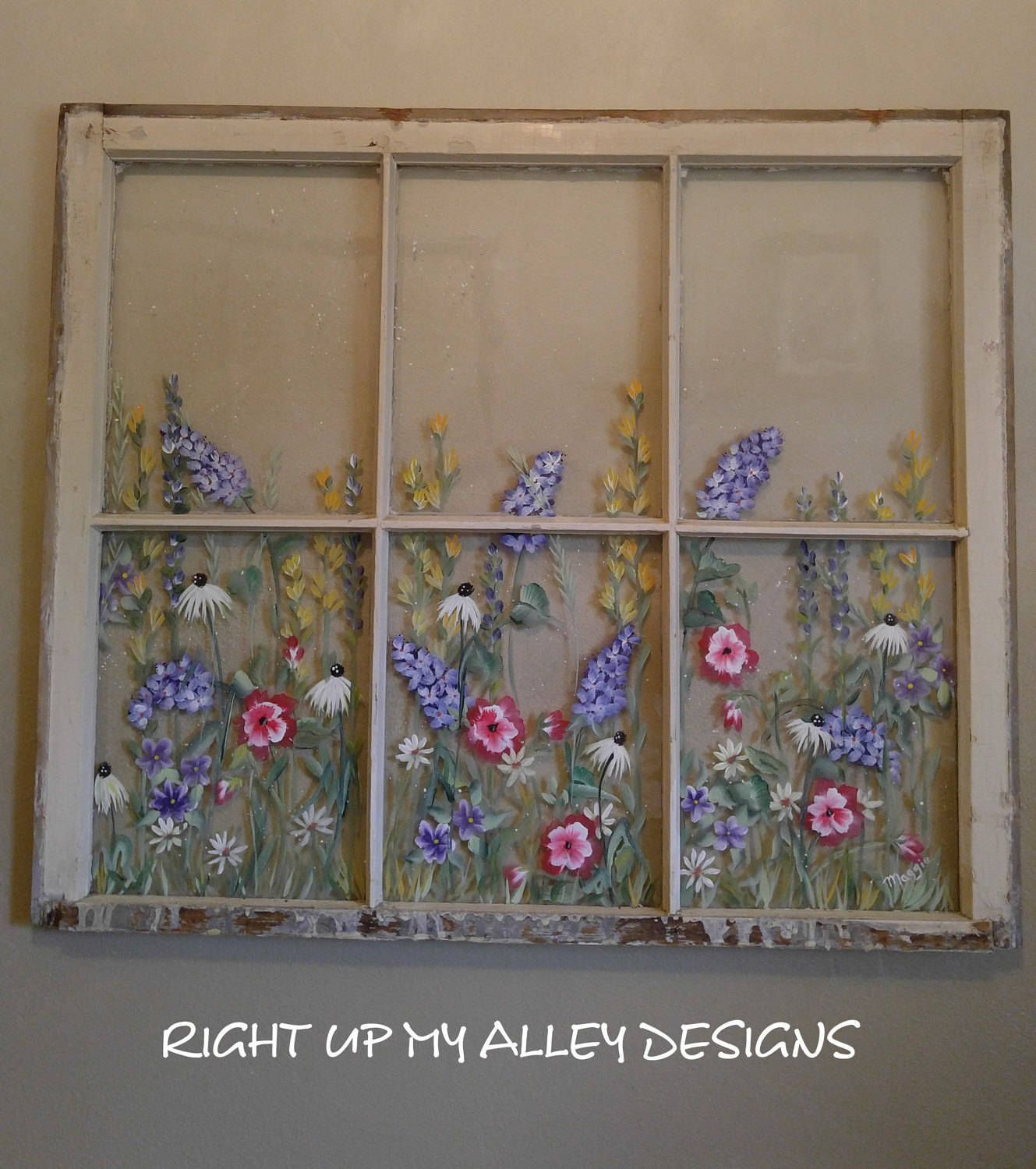 Old Painted Window Floral Window Window Wall Art Hand Painted Window Shabby Window Distressed Country Cottage Window Painting Old Windows Painted Crafty Decor